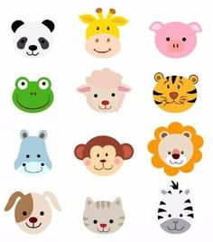 Comic Tiere Kopf Gesichter, 300 dpi EPS P - Caras de animales - Cartoon Jungle Party, Safari Party, Jungle Theme, Safari Animals, Baby Animals, Cute Animals, Cartoon Faces, Cartoon Dog, Zebra Cartoon
