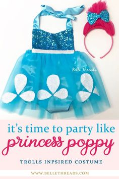 The cutest Princess Poppy Costume with headband - it's time to party like Poppy with this handmade Trolls Inspired Costume by Belle Threads. Comes in sizes 3-6 months to 5T. Princess Poppy Birthday / Trolls Costume / Trolls Birthday Party Ideas / Princess Poppy #princesspoppy #trollsparty #poppycostume #poppyhalloweencostume