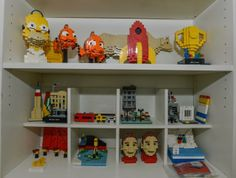 Some of the sculptures made out of Lego bricks created by Sean Kenney inside his studio in Long Island CIty.
