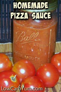 A simple low carb homemade sugar free pizza sauce. This sauce is a great way to use up a late summer crop of tomatoes or frozen skinned tomatoes off-season. | LowCarbYum.com