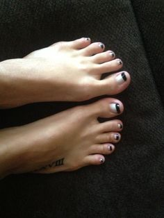 Black tip French pedicure French Pedicure, Lip Gloss, Hair Color, Nail Polish, Make Up, Prom, Nails, Black, Projects