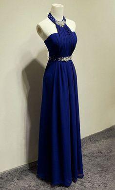 Blue Beading Halter A-line Chiffon Prom Dresses 2017