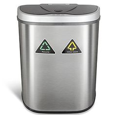 AutoBin Large Indoor Automatic Lid With Double Dual Split Waste Rubbish Recycling Bin. Recycle Trash Garbage Can With 2 X Separate Compartment Dustbin Great For Kitchen, Office & Home Kitchen Trash Cans, Kitchens And Bedrooms, Garbage Can, Trash Bag, Canister Sets, Recycling Bins, Cool Kitchens, The Unit, Stainless Steel