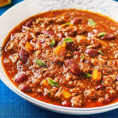 All American Chili -- Easy and very mild.  (Could add more spice at the end for the adults!)  Serve with cornbread.