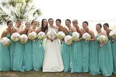 Green, blue, and torquoise beautiful bridesmaids taken in South Carolina by Virgil Bunao