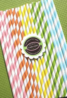 Pretty Paper Straws - PASTEL Rainbow Stripes by thebakersconfections, $5.00