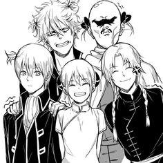 Gintama: Gintoki, Umibouzu, Kagura, Kamui, and Okita