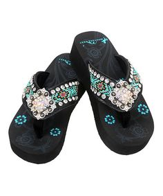 4f394e6b40f5d3 Montana West Black   Pink Bead Wedge Flip-Flop - Women