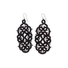 NOVICA Black Tatted Dangle Earrings on Sterling Hooks (425 MXN) ❤ liked on Polyvore featuring jewelry, earrings, dangle, sterling silver, beaded earrings, beading jewelry, novica, hook jewelry and beads jewellery