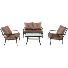 Enhance your outdoor lounging experience with the wildly-comfortable Palm Bay 4-Piece Set. Featuring all-weather materials and premium steel framing, this sleekly-crafted set includes one love-seat, two arm chairs and one glass-top coffee table. Built to stand up to harsh weather conditions, the Palm Bay 4-Piece Patio Set is easy to clean and maintain.