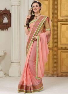 Pinkish Peach Embroidery Work Georgette Silk Designer Party Wear Sarees  #Wedding #Bridal #designer #Saree       http://www.angelnx.com/Sarees