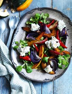 Roasted squash and apple salad with truffled goats cheese