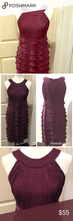 Deep Purple Cocktail Dress   Deep Purple Cocktail Dress  Beautifully ruffled cocktail dress. Great for New Years Eve  Weddings  or Cocktail parties . Worn only once. Excellent condition. Price is firm. ❗No Trades ❗ London Times Dresses