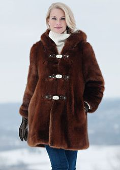 Copper Mink Hooded Faux Fur Coat