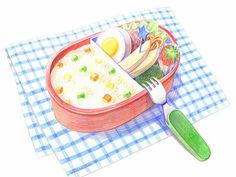 Colored Pencil Drawings of Japanese Cuisine (Vol.02)    - Loved Lunch Box - Colored Pencil Drawings of Japanese Foods 1