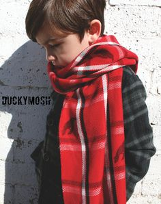 Boys Red Plaid Hand Stamped Scarf With Raven by DuckyMosh on Etsy, $12.00