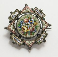 Victorian micro-mosaic brooch by tracie Gothic Victorian Dresses, Victorian Jewelry, Antique Jewelry, Vintage Jewelry, Victorian Era, Handmade Jewelry, Art Nouveau, Art Deco, Silver Brooch