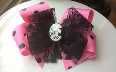 READY TO SHIP  Pink and Black Polka Dot Deluxe by BellaBooSmile, $7.95