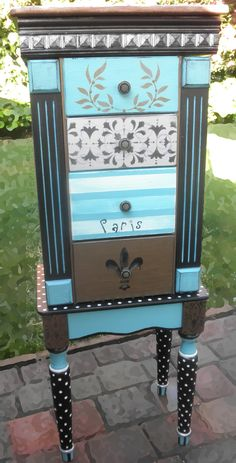 Jewelry Armoire for all of your jewelry, hand painted by accentbydesign www.etsy… - DIY and Crafts 2019 Whimsical Painted Furniture, Painted Chairs, Hand Painted Furniture, Funky Furniture, Refurbished Furniture, Paint Furniture, Repurposed Furniture, Furniture Projects, Furniture Making