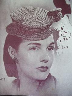 World War 2 Era dated 1944 New Hats Crochet by houseofpatterns