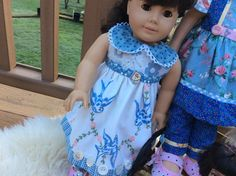 American Girl doll clothes, vintage linens, bluebirds, ARTSY, shabby chic, 2 pc by judysdollboutique on Etsy