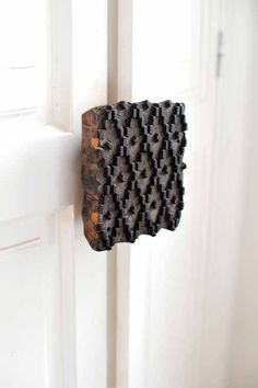 door handle . antique printing block . repurpose