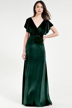 The Jenny Yoo Ellis Bridesmaid Dress is a great option! Find Jenny Yoo bridesmaid dresses at Brideside. Emerald Green Bridesmaid Dresses, Velvet Bridesmaid Dresses, Green Wedding Dresses, Elegant Bridesmaid Dresses, Fall Dresses, Pretty Dresses, Velvet Dresses, Velvet Long Dress, Emerald Green Wedding Dress
