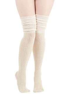 Put Your Strut In Me Thigh Highs in Ivory - Boho, Urban, Darling, Over the Knee (OTK), Knit, Cream