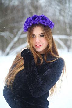 "The dressing-rim on the head with purple roses ""Indigo"" russian style headband"