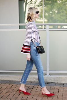 #OOTD: A Powerhouse Blouse Goes Business-Casual with Blue Jeans