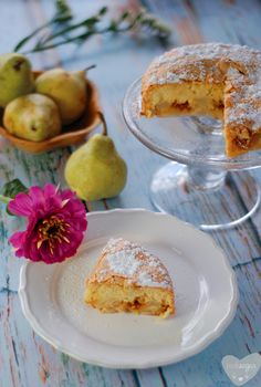 Polish Szarlotka cake with pear and caramell