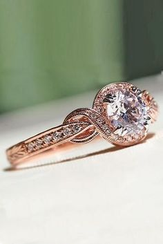 Vintage Engagement Rings With Stunning Details ★ vintage rose gold engagement rings 5 Beautiful Wedding Rings, Wedding Rings Rose Gold, Wedding Rings Vintage, Antique Engagement Rings, Rose Gold Engagement Ring, Wedding Jewelry, Wedding Engagement, Perfect Wedding, Gold Wedding