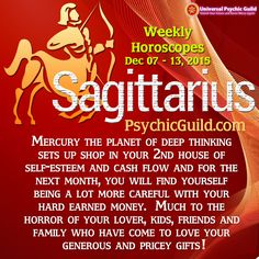 #SAGITTARIUS - The final New Moon of the year is in your sign – your 1st house of ego and personality. It's a wonderful way to end 2015 for you, especially with Jupiter your ruler and the planet of good luck and opportunity squaring up. This indicates that your wild side really wants to come out and play this weekend. How much of a good thing is too much?   #WeeklyHoroscope #ZodiacSigns