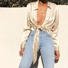 "285 Likes, 1 Comments - Elia Vintage (@eliavintage) on Instagram: ""Gorgeous vintage 100% silk champagne wrap blouse. Fits s-m best $78 SOLD"""