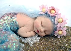 Ooak Fairy Pixie Sleeping Baby Mermaid Art Doll Polymer Clay Sculpt ...