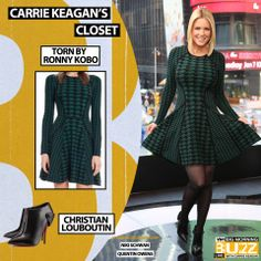 Dress: Torn By Ronny Kobo Green Elizabeth Dress - $398 Boots: Christian Louboutin Huguette Boots - $1,095 Foxes, Get The Look, Carrie, Carry On, Christian Louboutin, Tv Shows, Videos, Sexy, Green