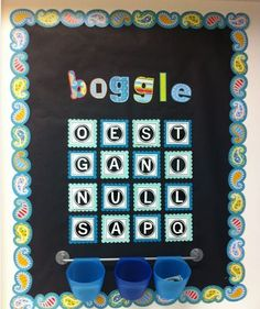 "Each Monday I would change the letters on the Boggle board and then I would let students collect words all week long on their ""Boggle Word Collector.""  On Fridays, as a class, we would see who was able to come up with the most words.      As an extra challenge, I would have students look up all of the words that they found in the dictionary (yay for dictionary skill practice!) and include the dictionary page # that they found the word on next to each word on their ""Boggle Word Collector."""