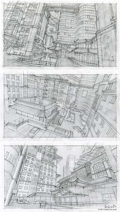 Nightfall City sketches by Dmitry Popov Environment Sketch, Environment Design, Landscape Illustration, Illustration Art, Illustrations, Moleskine, Cityscape Drawing, Conceptual Drawing, City Sketch