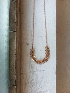 Rose Gold Fishbone Necklace by LAB