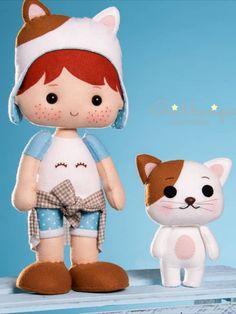 Felt Dolls, Baby Dolls, Homemade Dolls, Panda Art, Diy Doll, Felt Crafts, Cute Love, Hello Kitty, Party