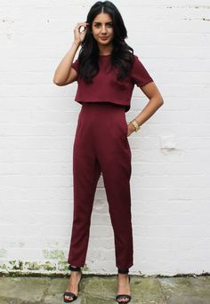 590c9f1c0560 Cropped Split Back Overlay Top Jumpsuit in Oxblood