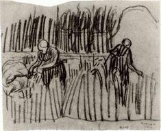 Two Women Working in Wheat Field, 1890, Vincent van Gogh