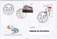 Sobrescrito circulado com carimbo comemorativo dos 20 anos da confederação de desporto e marca dia da Loja de Algés. Selo de taxa N colocado em circulação a 19 de Junho de 2012 e selo 0,01€ da emissão base transportes públicos portugueses colocado em circulação a 08 de março de 2010.