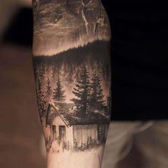 Realistic Landscape Tattoo #greyinktattoo #realistictattoo #landscape