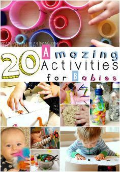 These 20 activities for baby are so much fun! Babies love to play too! Which activity will you try with baby first?