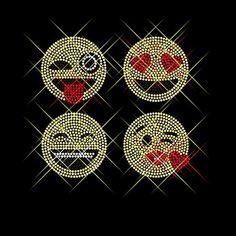 Luxflair� Strassstein Motiv Emoji 4er Set, cooles Strass B�gelbild ca. 20,3 x 19,1cm gro� inkl. Anleitung zum einfachen Veredeln von Textilien. Glitzerndes Strassstein B�gelmotiv auf Folie zum Aufb�geln bzw. Aufkleben oder als Applikation. Auch als Rhinestone Hotfix Transfer bekannt. Mehrfarbig in k