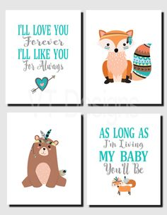 Tribal Nursery Wall Art, Woodland Animals, Girl Boy Nursery Decor, Forest Animals, Fox, I'll Love You Forever, Set of 4, Canvas or Prints by vtdesigns on Etsy