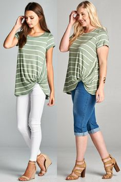 0f7cba48856 Plus Size Tops · Kelly Brett Boutique - Why Knot Striped Top Sage S ~ 3X