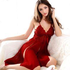 Lingerie Claret red transparent lace sleepwear