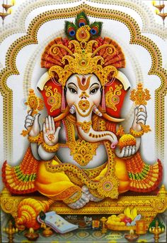 Divine Lord Ganesha Ganapati Large Rare Hindu Religious Poster 31 Largest Collection of Lord Ganesha on the Planet Shiva Art, Krishna Art, Hindu Art, Lord Ganesha, Lord Shiva, Jai Ganesh, Ganesha Pictures, Ganesh Images, Ganesha Painting